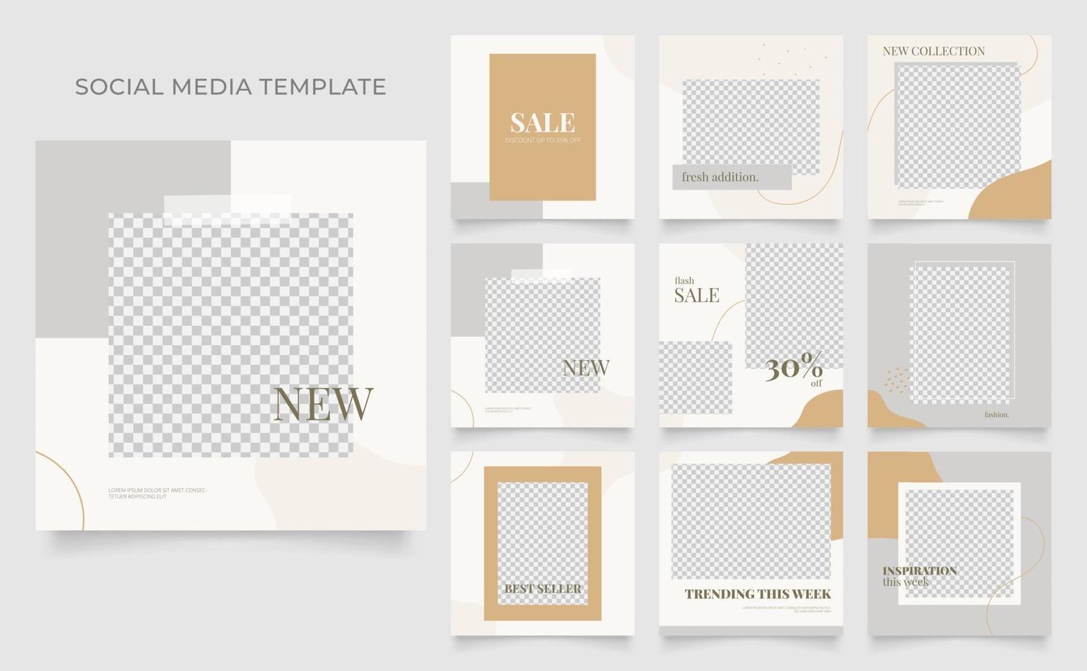 sociale media sjabloon banner blog mode verkoop promotie. volledig bewerkbare vierkante postframe puzzel organische verkoop poster. bruin grijs witte vector achtergrond