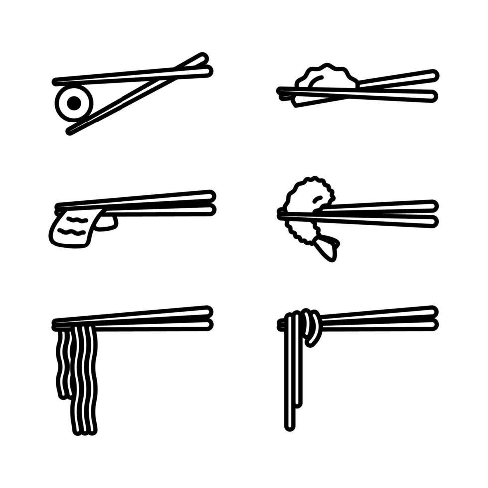 eetstokjes met voedsel icon set. houten eetstokjes met sushi, ramen, noedels, garnalen tempura, gesneden rundvlees, knoedel geïsoleerd op een witte achtergrond. vector