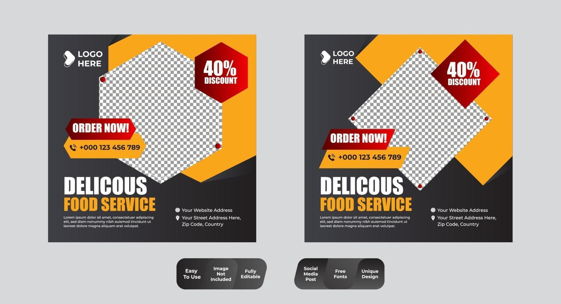 restaurant eten sociale media banner post ontwerpsjabloon set vector
