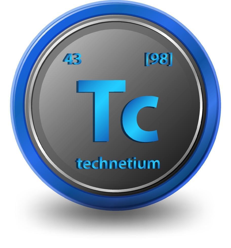technetium scheikundig element. chemisch symbool met atoomnummer en atoommassa. vector