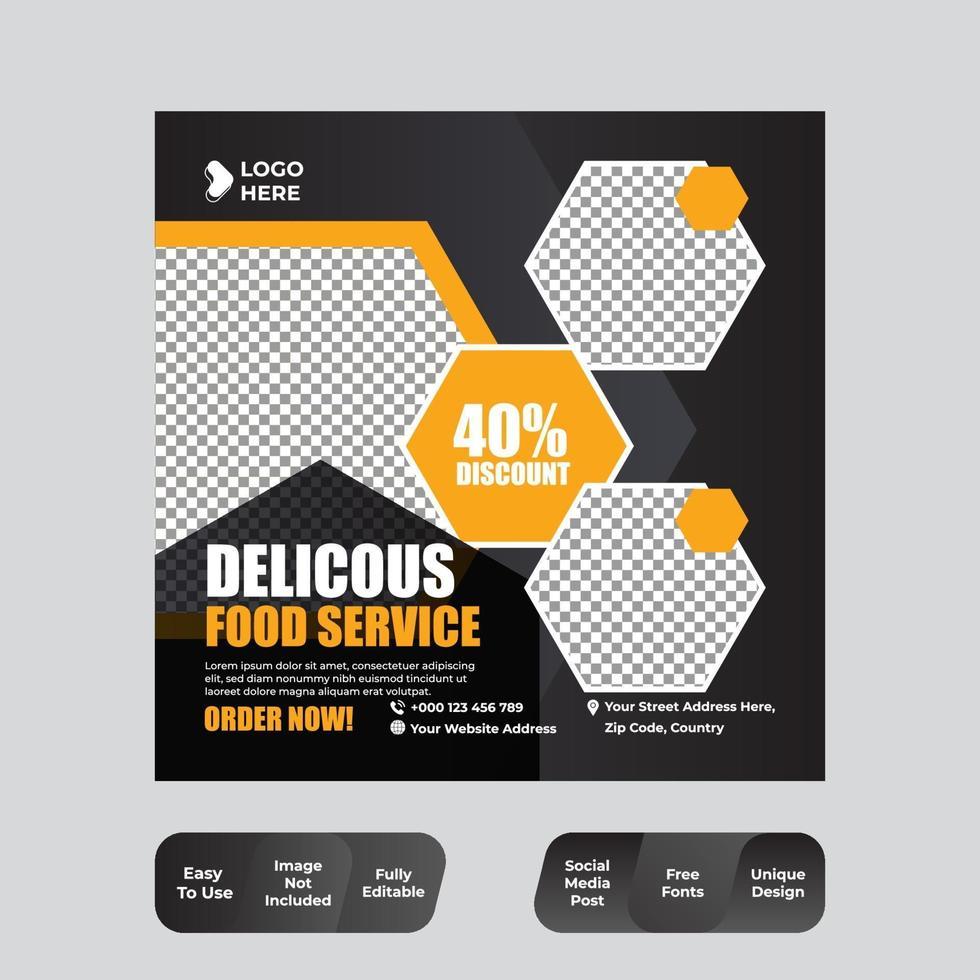 restaurant eten sociale media banner post ontwerpsjabloon vector