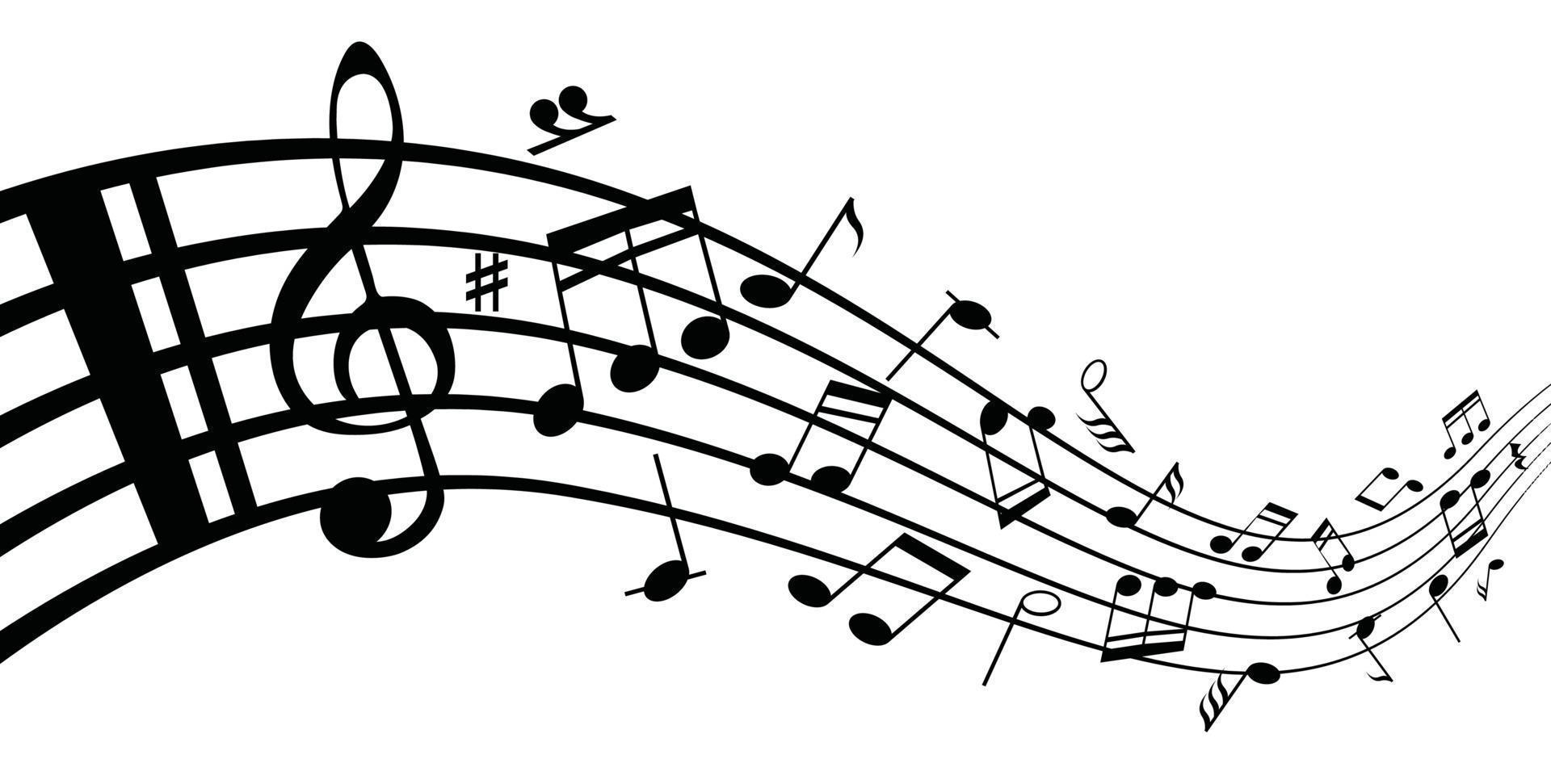 verzameling van muzieknoten en muzieknoten op een notenbalk vector