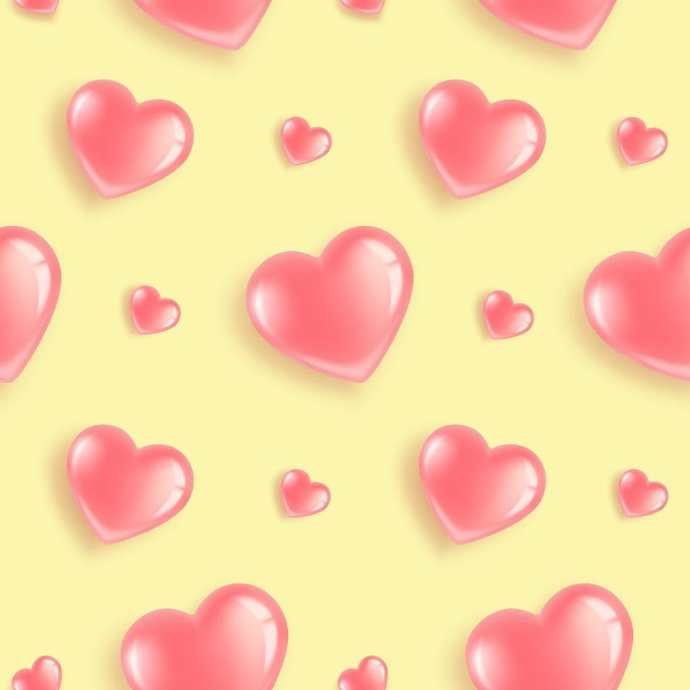 roze hartenpatroon op geel vector