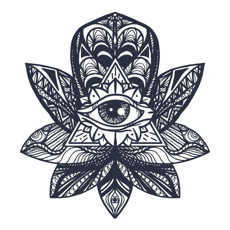 oog op lotus tattoo vector
