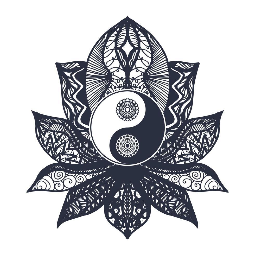 vintage yin en yang in lotus vector
