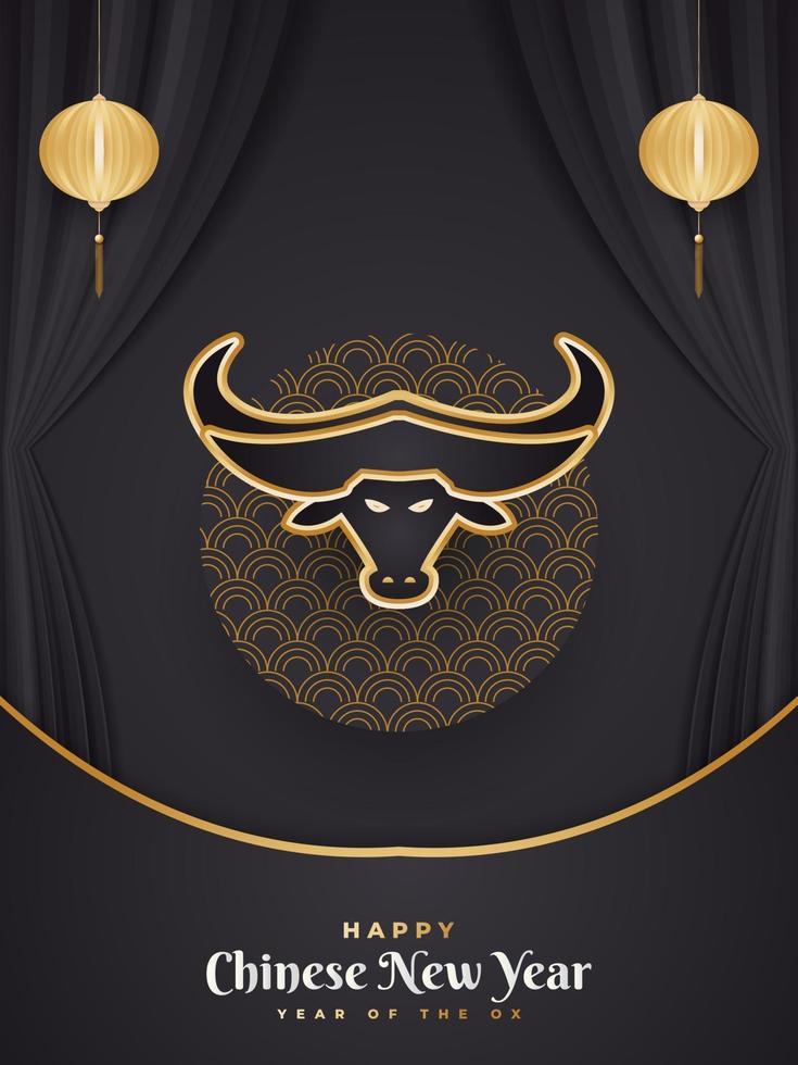 gelukkig chinees nieuwjaar 2021 jaar van de os. chinese wenskaart versierd met gouden ossenkop en lantaarns op zwart papier gesneden achtergrond vector