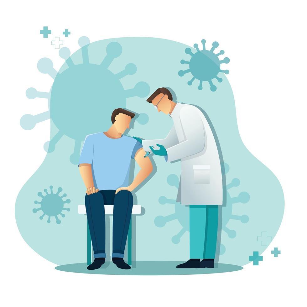 arts die patiëntvaccin, geneeskundegezondheidsconcept, vectorillustratie geeft vector