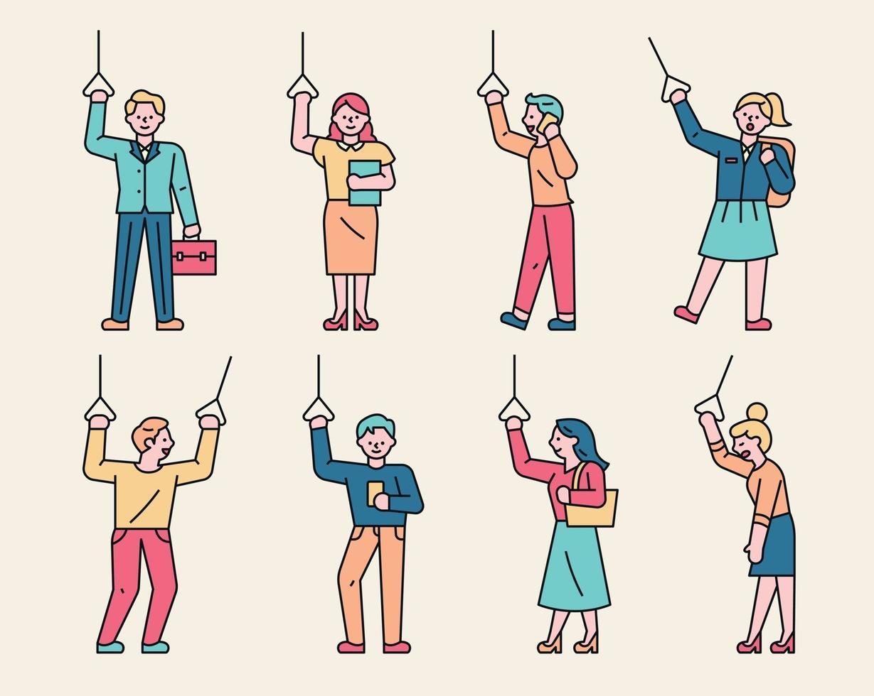 een reeks karakters met handvatten voor bus en metro. verschillende mensen, vector