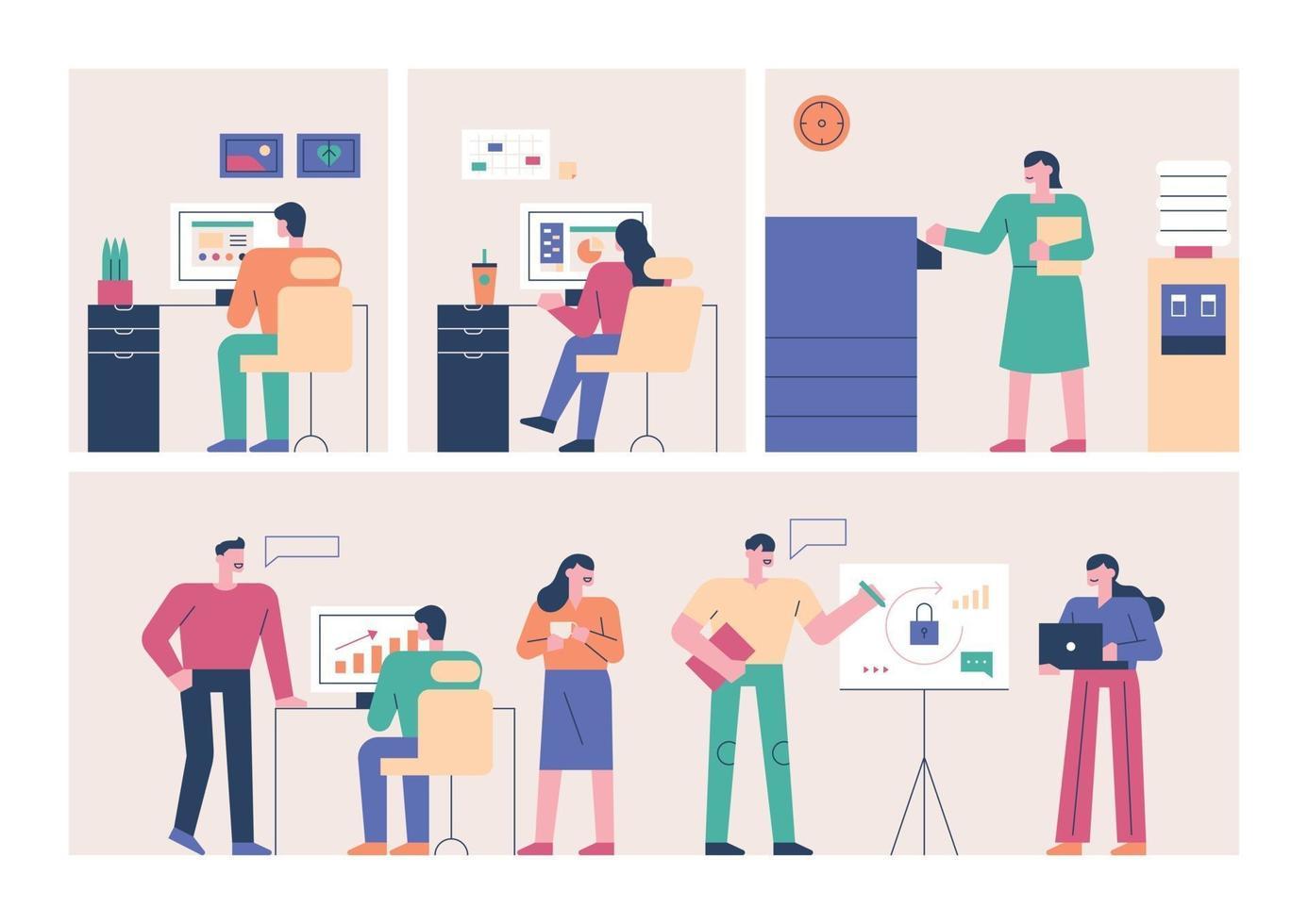 zakenmensen werken op kantoor. vector