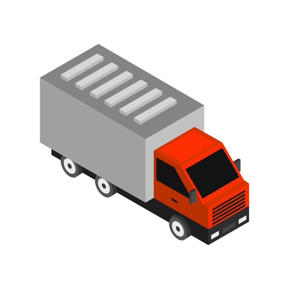 isometrische vrachtwagen op witte achtergrond vector
