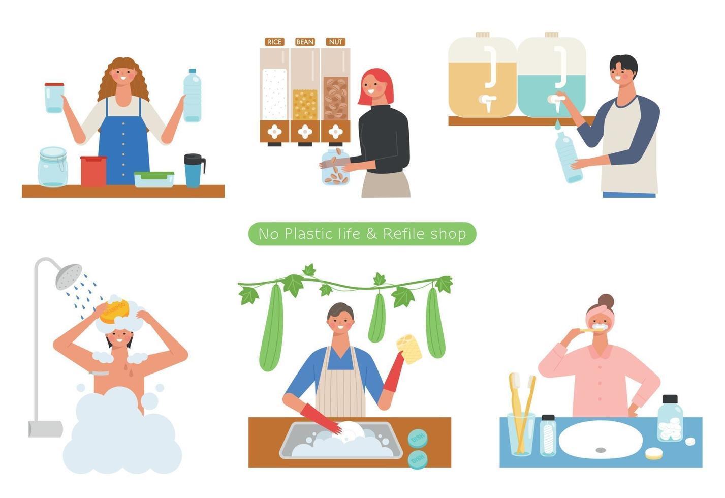 mensen die winkelen bij zero-waist-winkels en mensen met een plasticvrije levensstijl. platte ontwerpstijl minimale vectorillustratie. vector