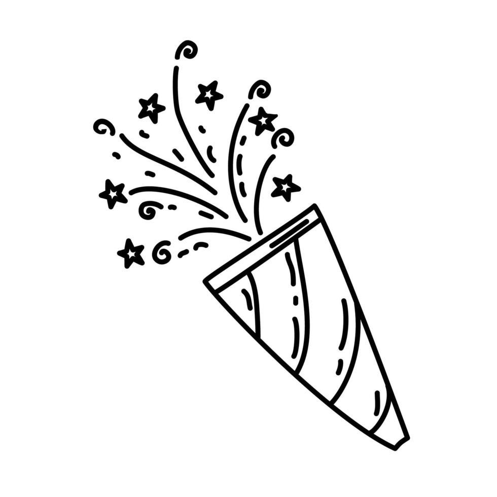 confetti pictogram. kinderspel hand getrokken of zwarte omtrek pictogramstijl vector