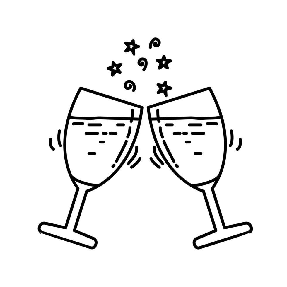 champagne pictogram. kinderspel hand getrokken of zwarte omtrek pictogramstijl vector