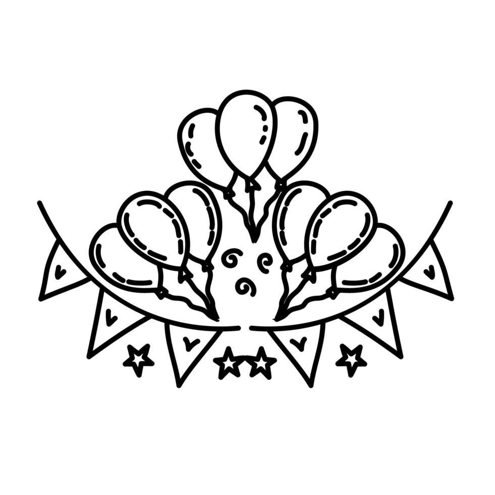 decoratie pictogram. kinderspel hand getrokken of zwarte omtrek pictogramstijl vector
