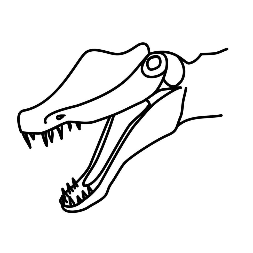 spinosaurus pictogram. doodle hand getrokken of zwarte omtrek pictogramstijl vector
