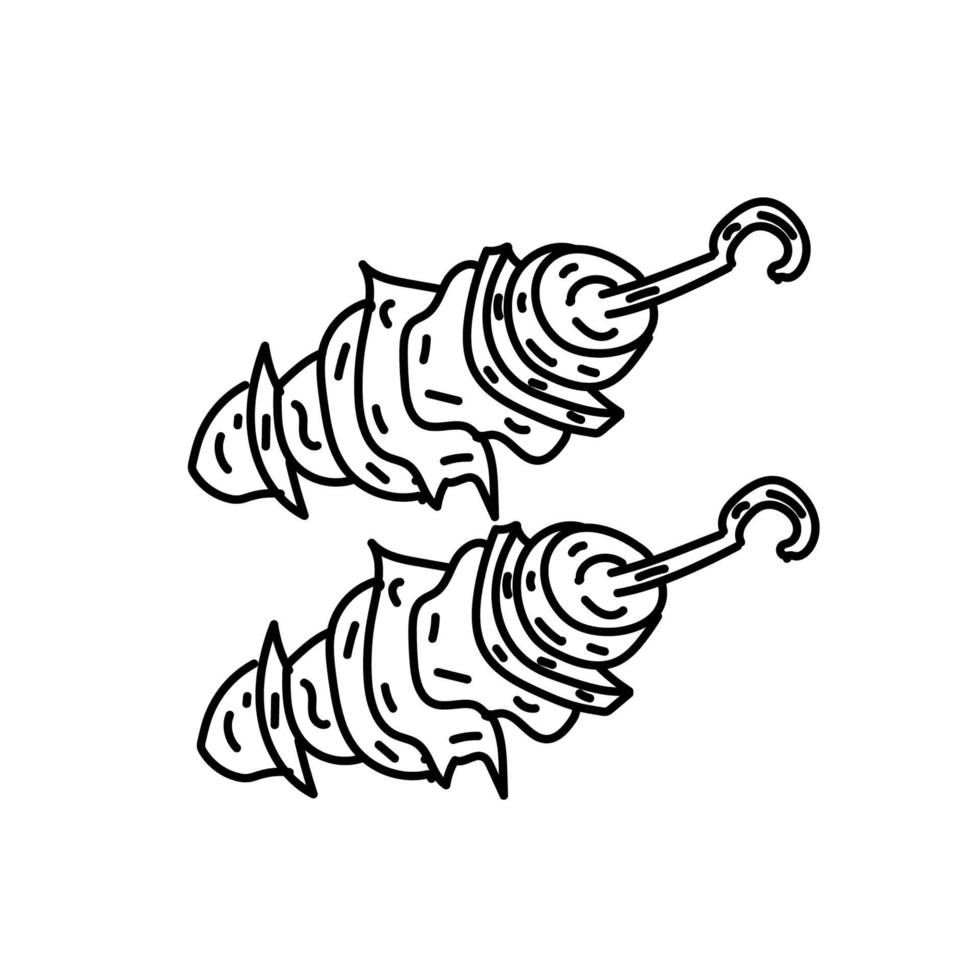 kip kebab pictogram. doodle hand getrokken of zwarte omtrek pictogramstijl vector