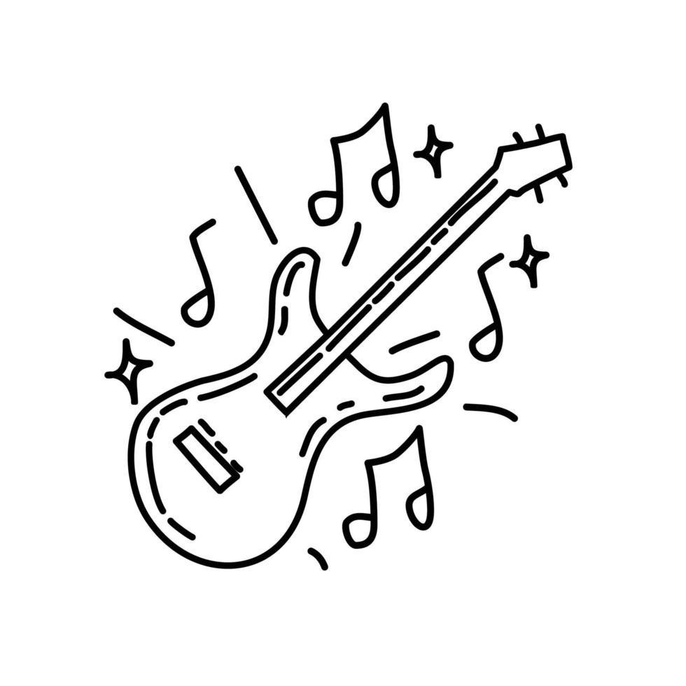muziek pictogram. kinderspel hand getrokken of zwarte omtrek pictogramstijl vector