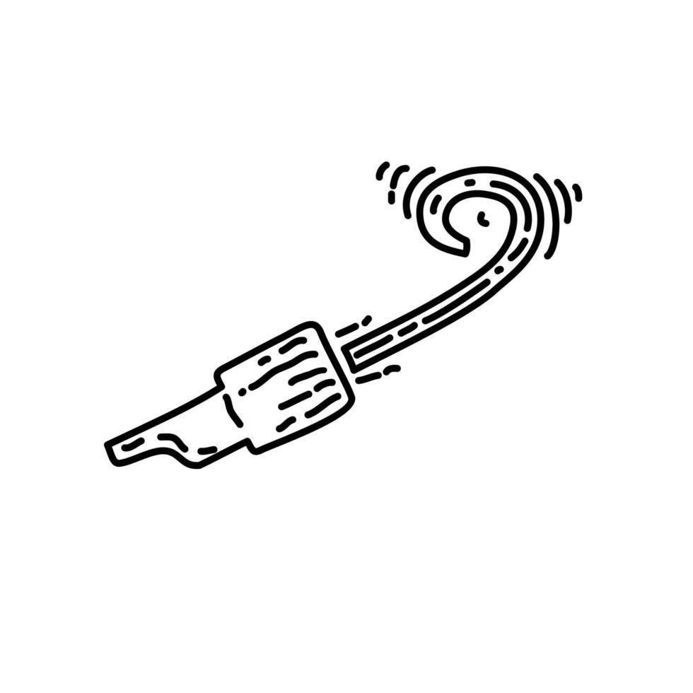 fluitje pictogram. kinderspel hand getrokken of zwarte omtrek pictogramstijl vector