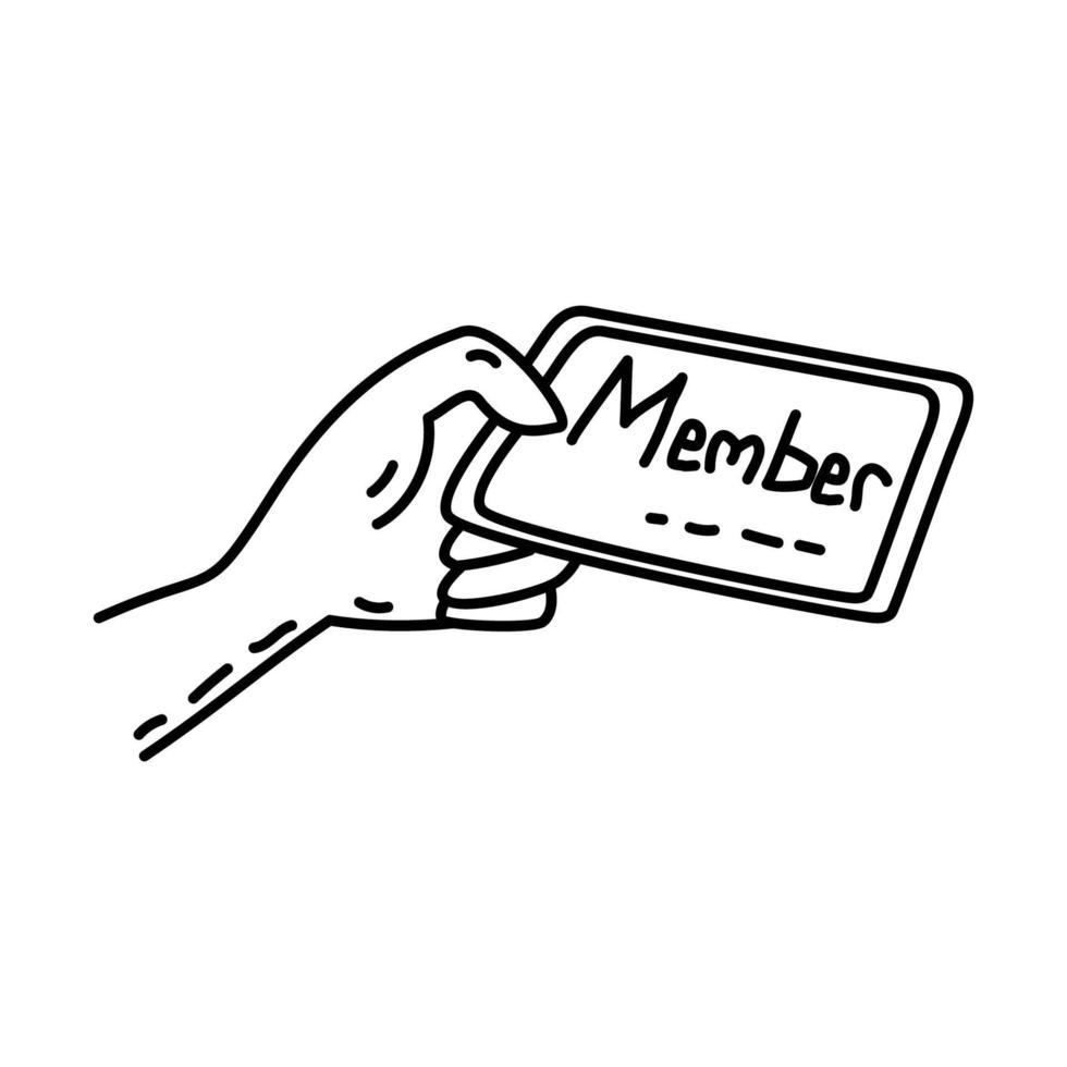 lidkaart pictogram. doodle hand getrokken of overzicht pictogramstijl vector
