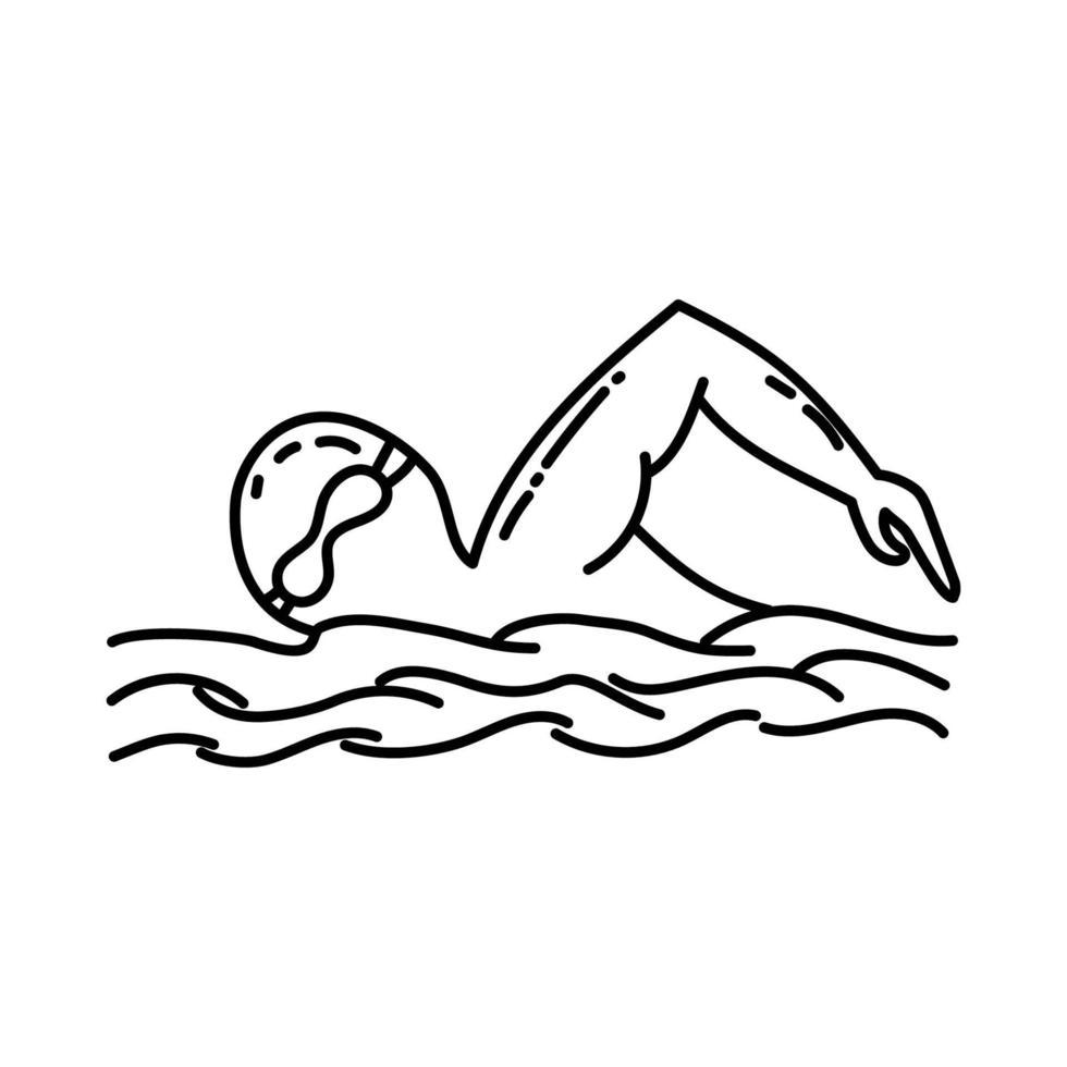 zwemmen als pictogram. doodle hand getrokken of overzicht pictogramstijl vector
