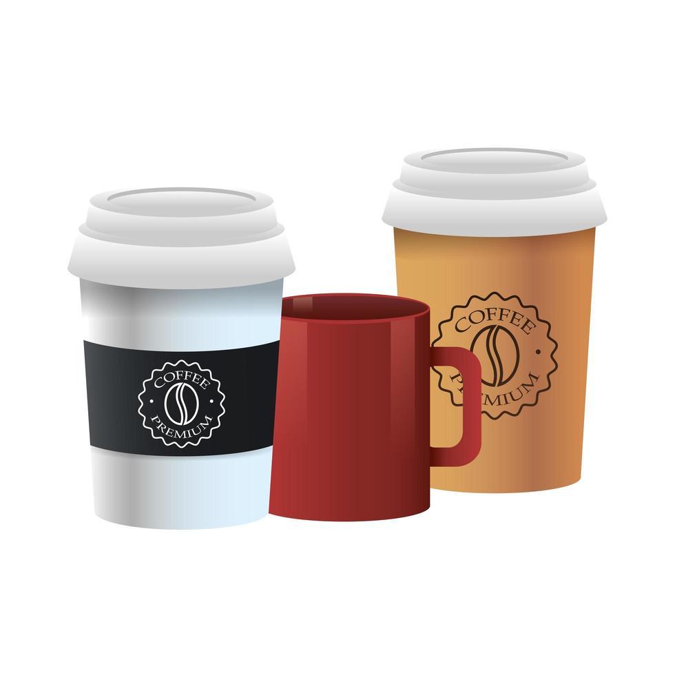 elegante kopjes en mok koffieproducten vector