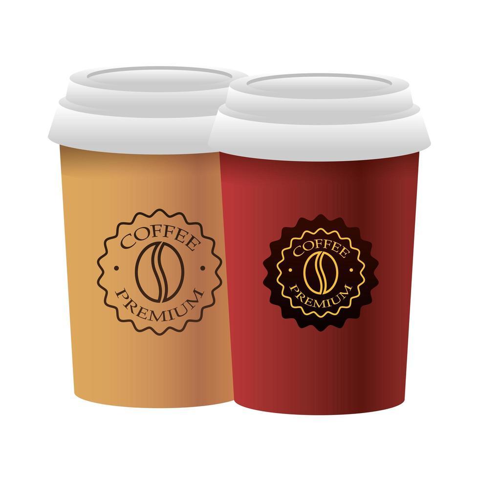 afhaal kopjes koffie vector