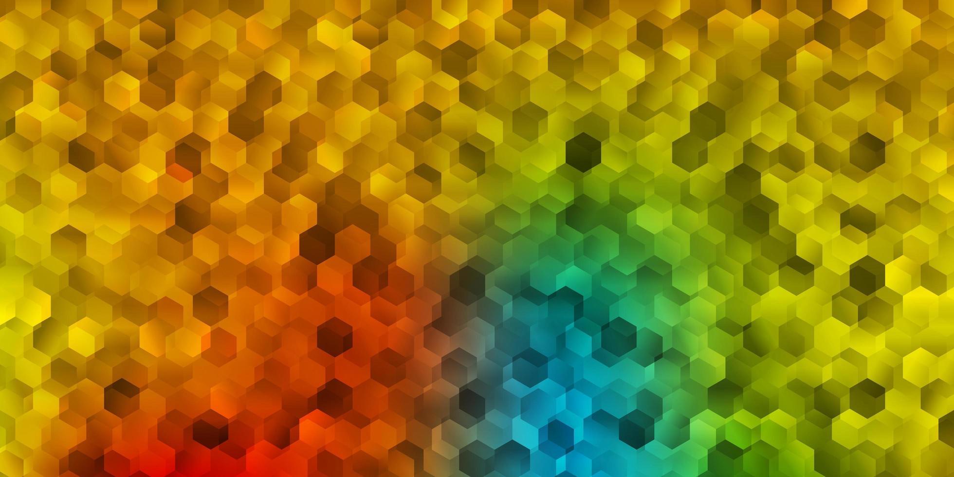 lichtblauw, geel vector sjabloon in een zeshoekige stijl.