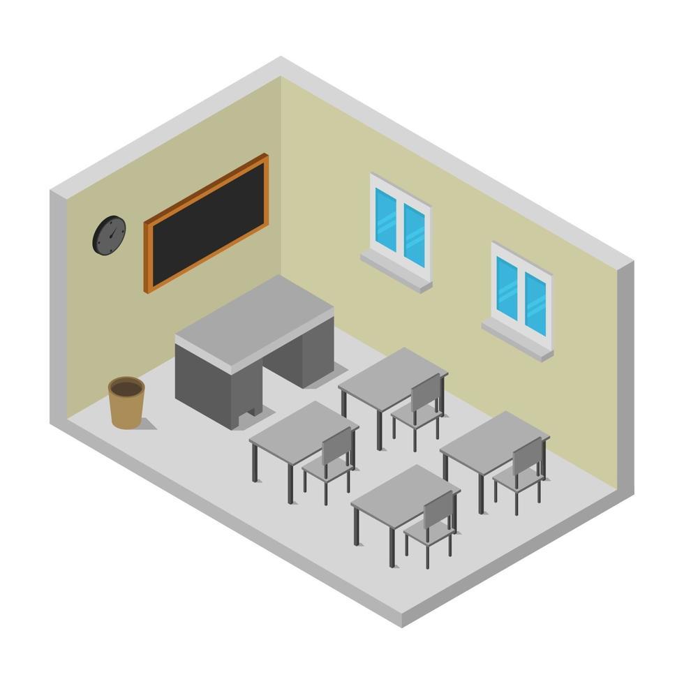 isometrische universitaire kamer op witte achtergrond vector