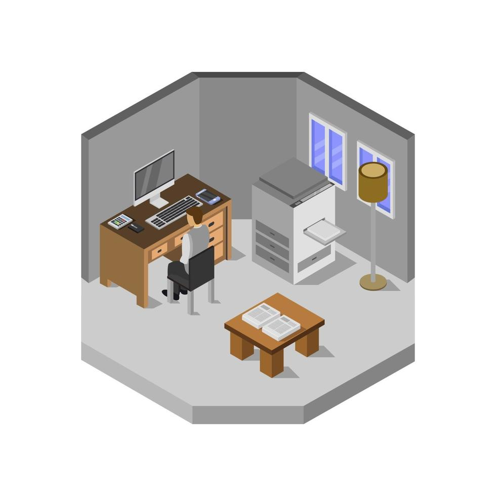 isometrische kantoorruimte op witte achtergrond vector