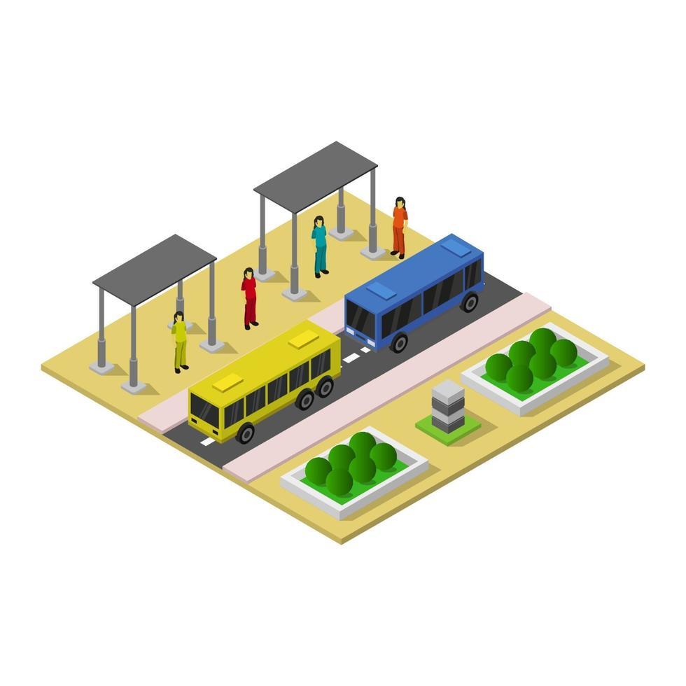 isometrische bushalte op witte achtergrond vector