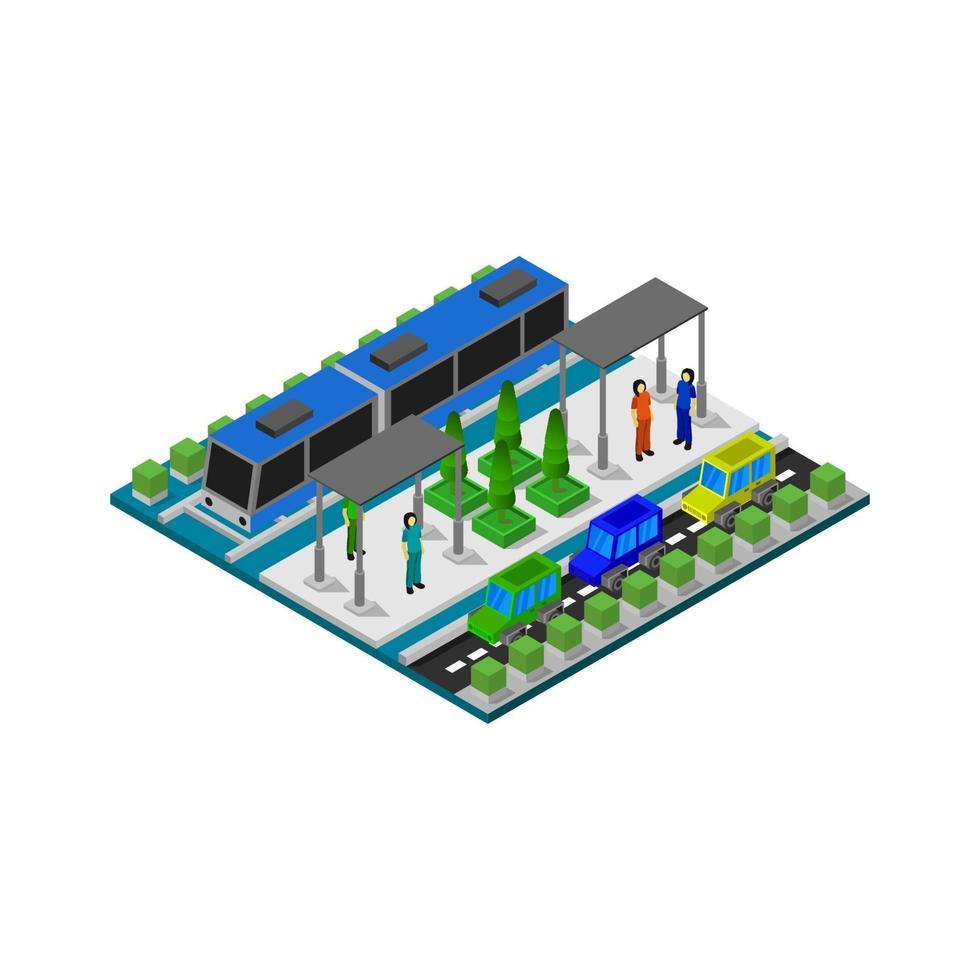 isometrisch treinstation op witte achtergrond vector