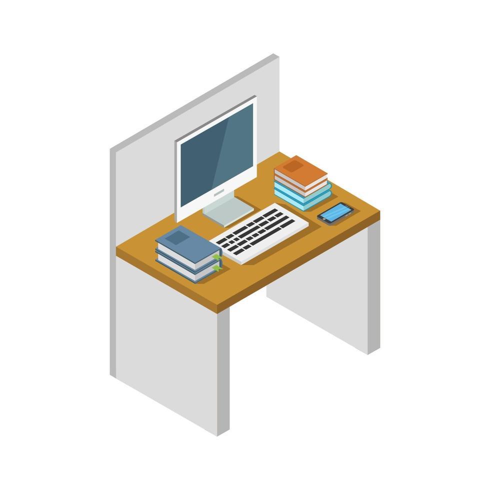 online isometrisch studeren op witte achtergrond vector