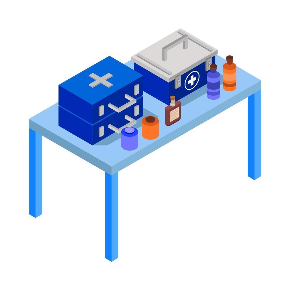 isometrische medische tafel op witte achtergrond vector