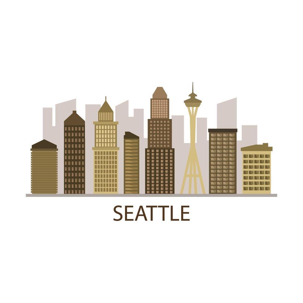 Seattle skyline op geïllustreerde achtergrond vector