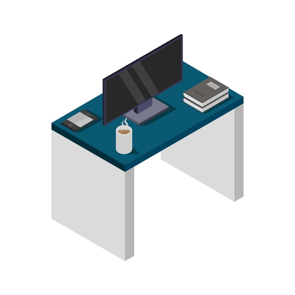 tafel met isometrische televisie op witte achtergrond vector