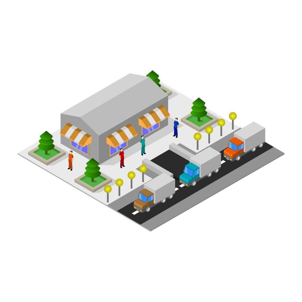 isometrische supermarkt op witte achtergrond vector