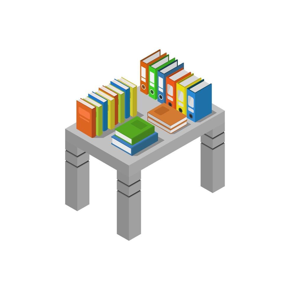 boeken over isometrische tafel op witte achtergrond vector