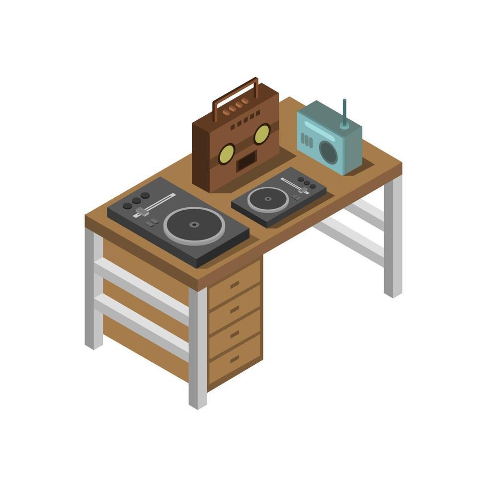 isometrische muziektafel op witte achtergrond vector