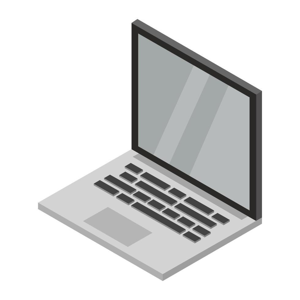 isometrische laptop geïllustreerd op witte achtergrond vector