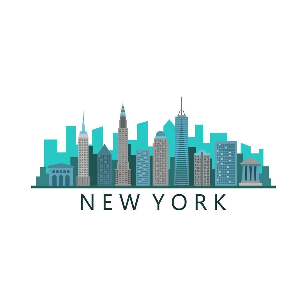 de horizon van New York op witte achtergrond vector