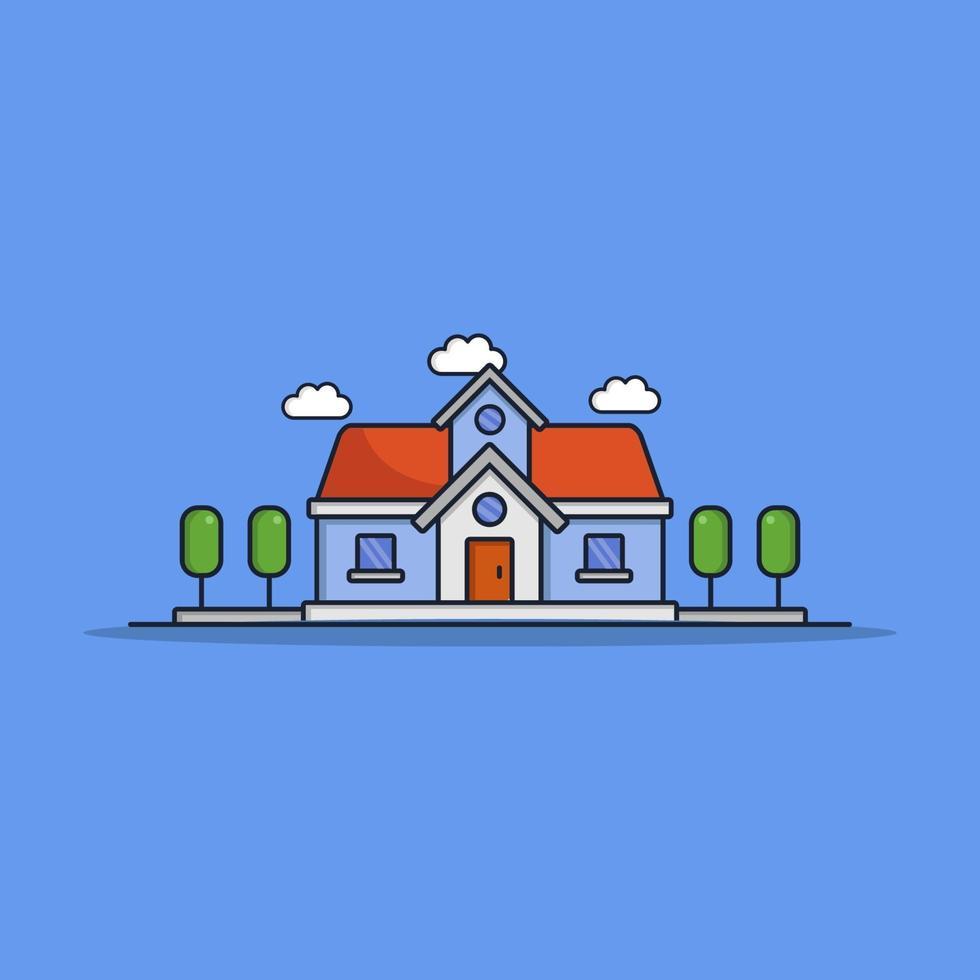 geïllustreerd huis op de achtergrond vector