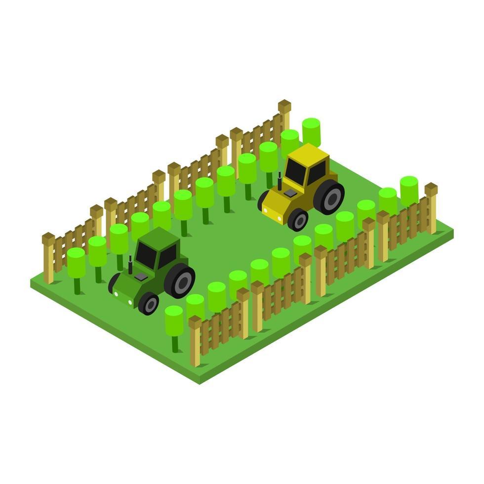 isometrische tractoren op witte achtergrond vector