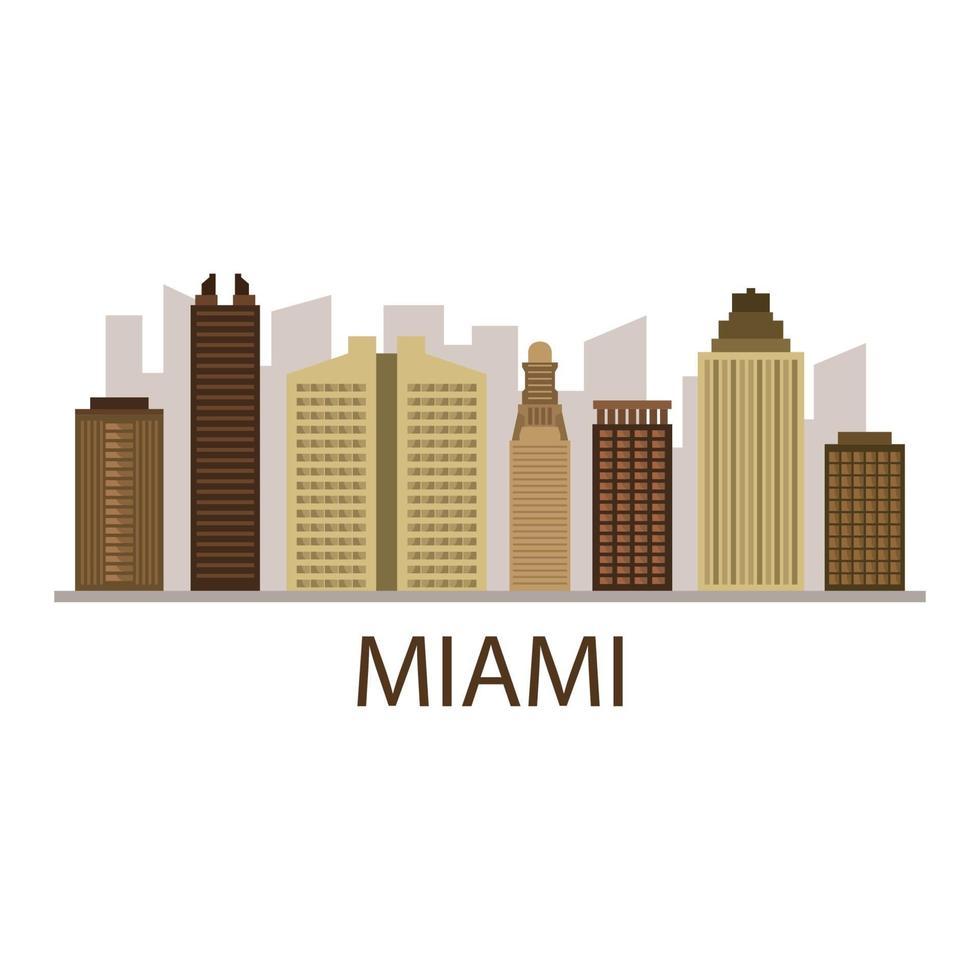 miami skyline geïllustreerd op achtergrond vector