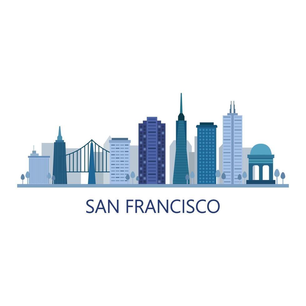 san francisco skyline geïllustreerd op de achtergrond vector