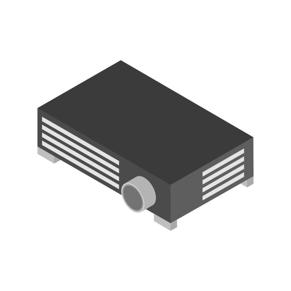 isometrische projector geïllustreerd op witte achtergrond vector