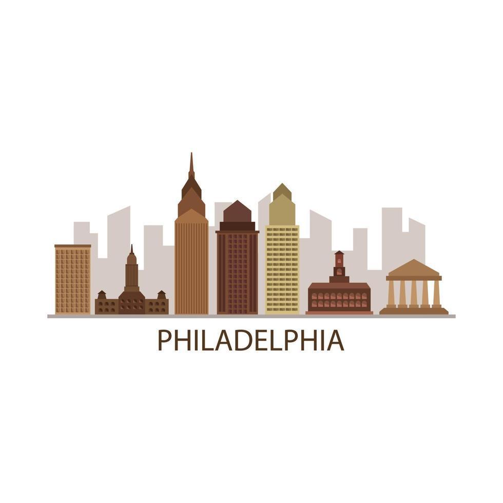 Philadelphia skyline op geïllustreerde achtergrond vector