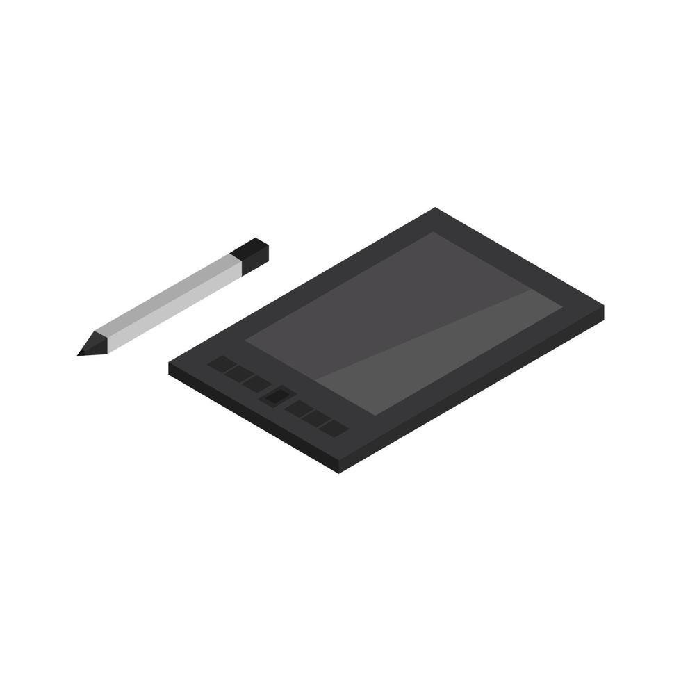 isometrische grafische tablet geïllustreerd op witte achtergrond vector