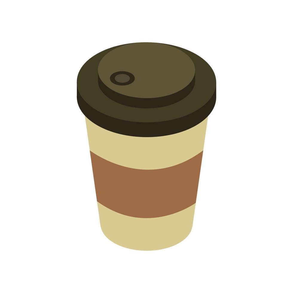 isometrische koffiekopje op witte achtergrond vector