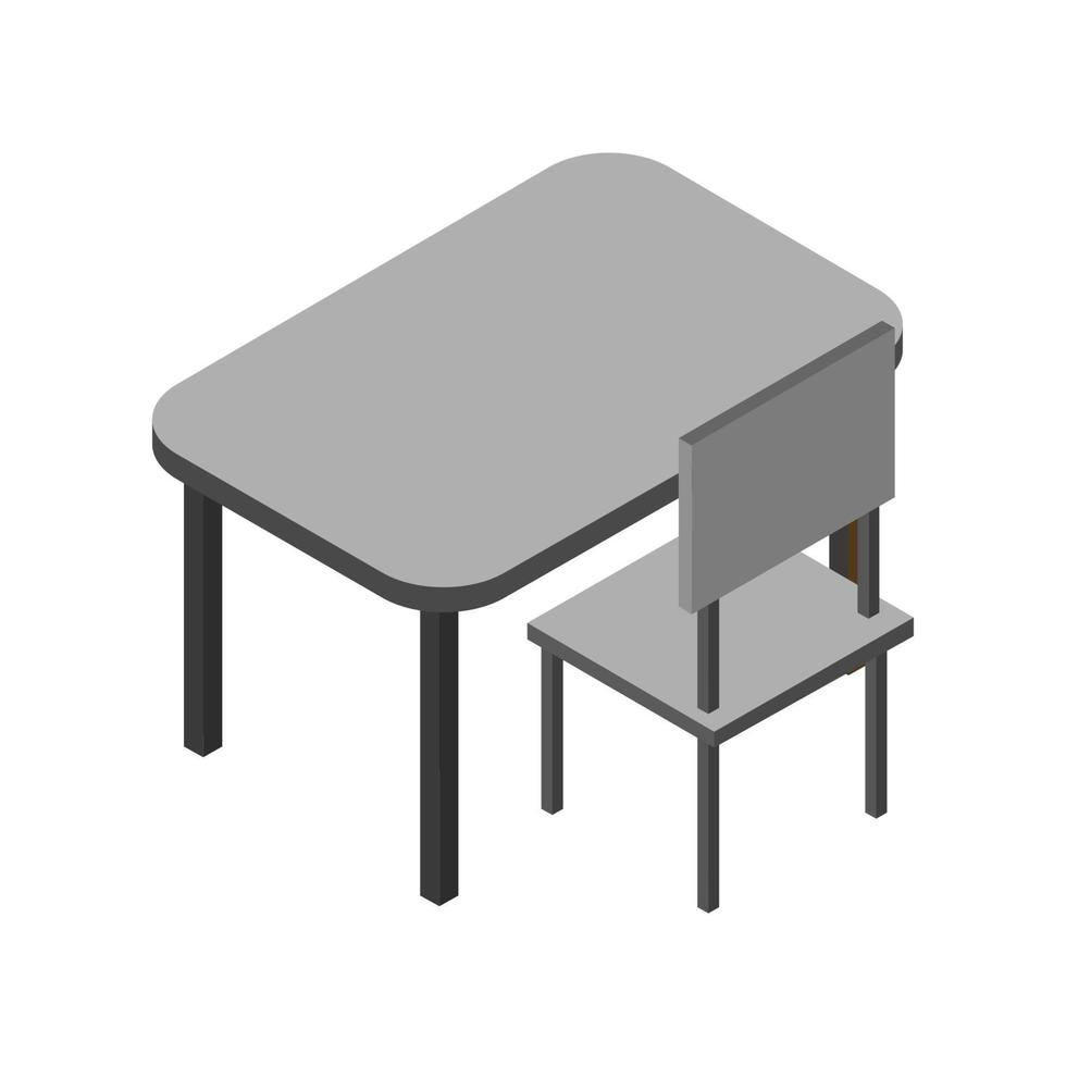 isometrische schoolbank op witte achtergrond vector