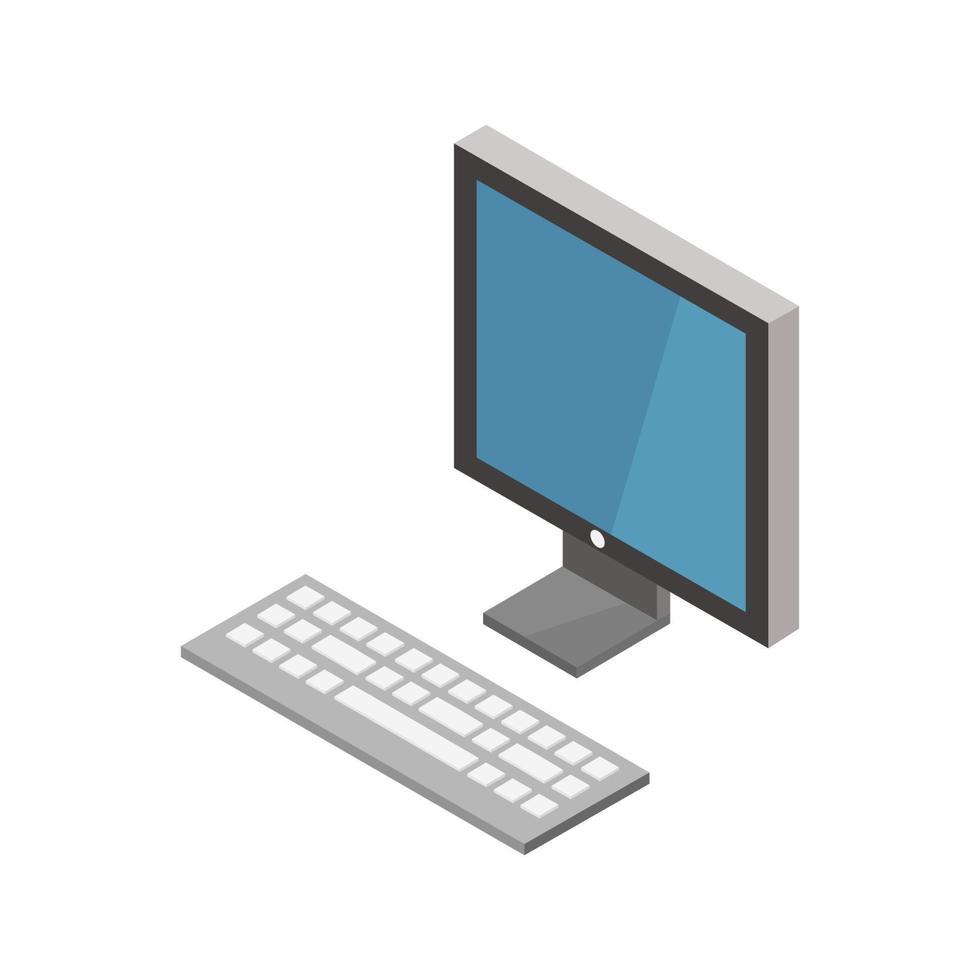 isometrische computer geïllustreerd op witte achtergrond vector